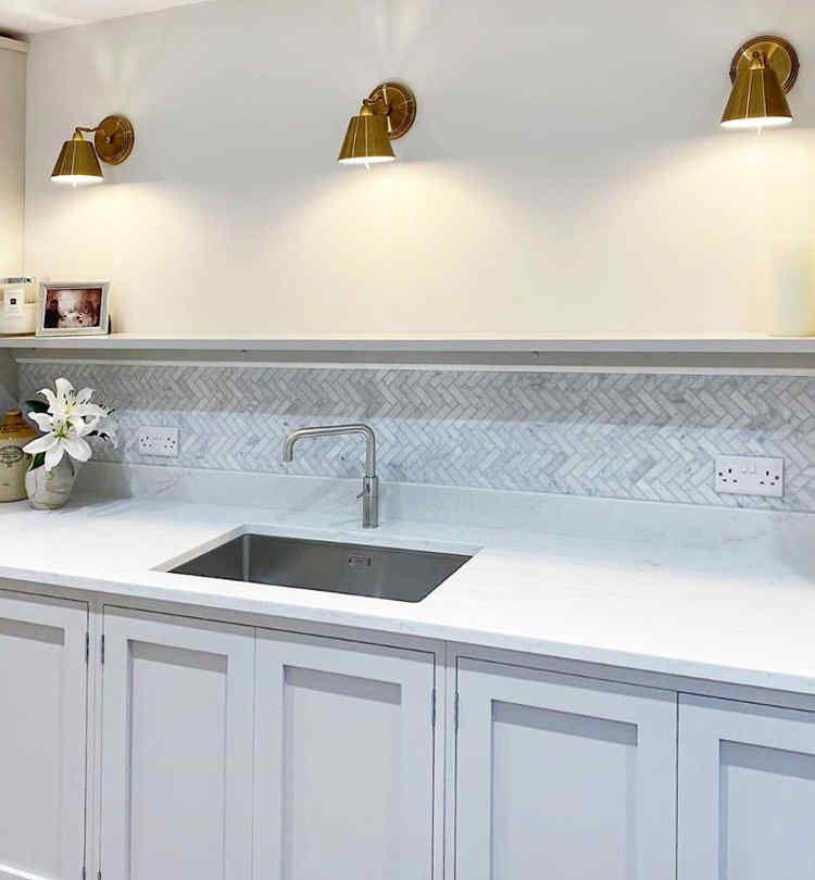 Bath Wall And Floor Mosaic Tile Kitchen Backsplash Herringbone Marble Carrara White