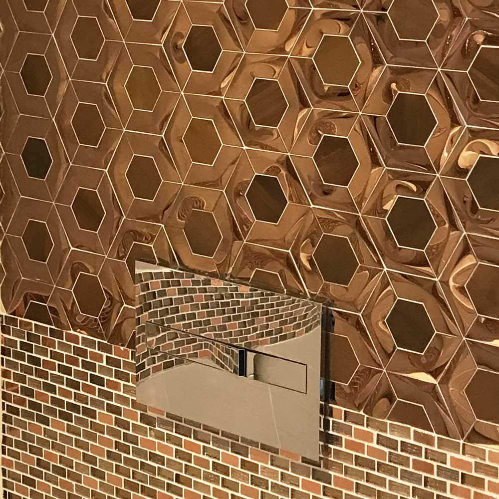 - 3D Rose Gold Hexagon Copper Mix Stainless Steel Mosaic Tile