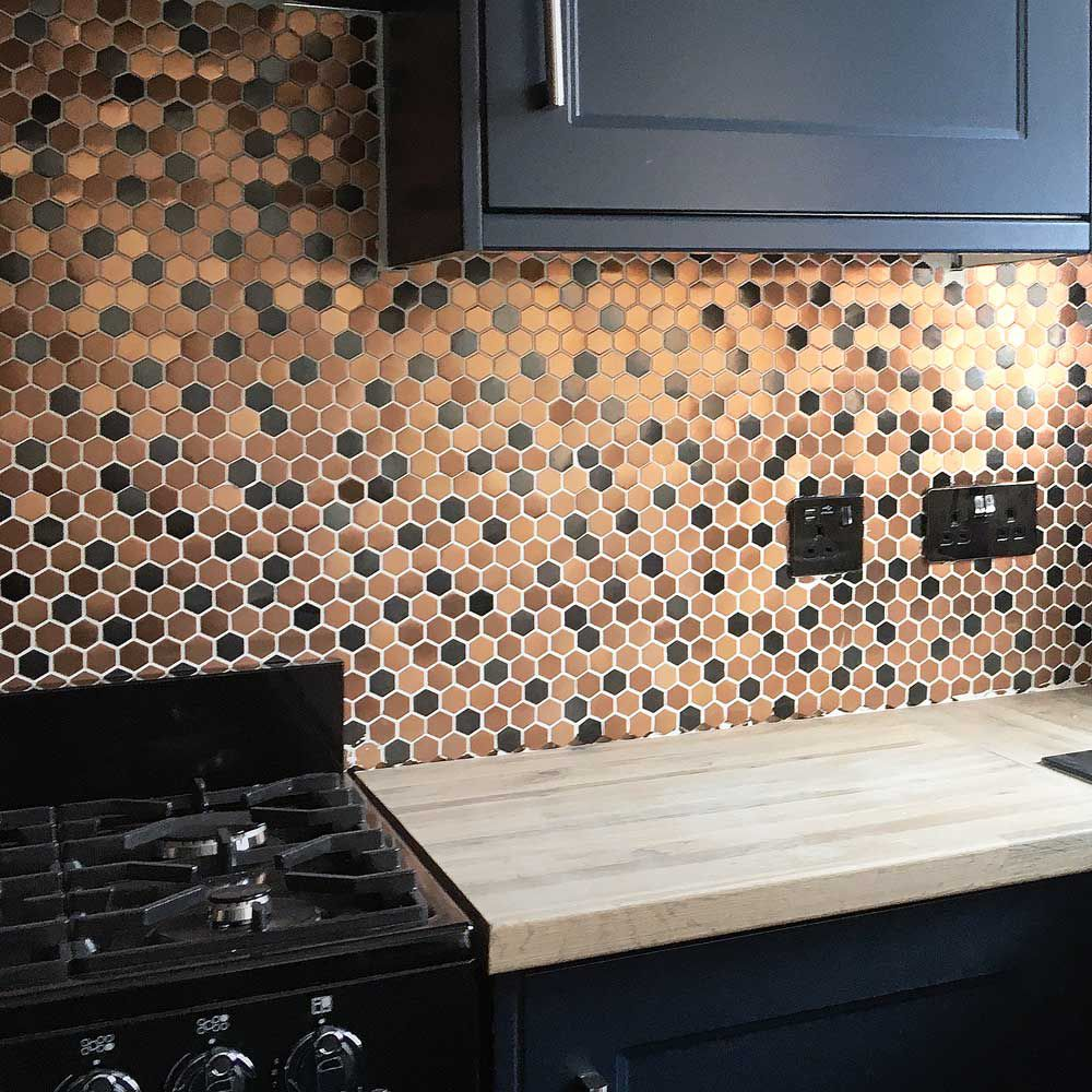 Rose Gold Mix Black Hexagon Stainless Steel Mosaic Tile Bathroom Kitchen Backsplash Feature Wall