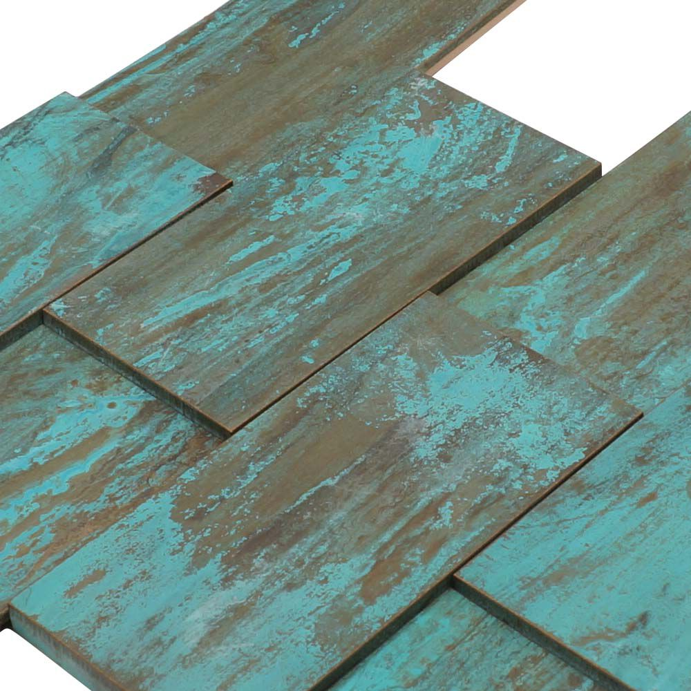 - 3D Heavy Patina Copper Brick Tile Fireplace Stair Riser Feature