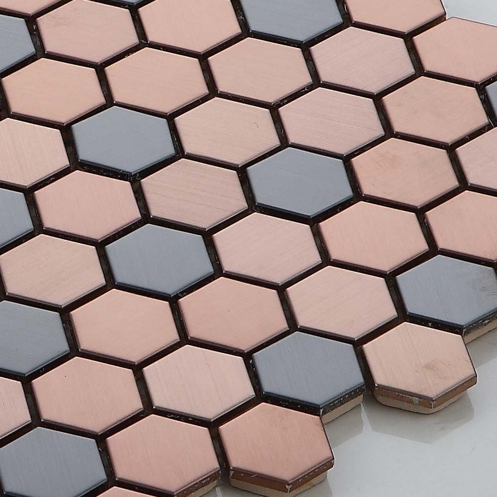 Rose Gold Mix Black Hexagon Stainless Steel Mosaic Tile Bathroom Kitchen Backsplash Feature Wall