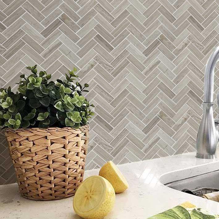 Bath Wall And Floor Mosaic Tile Kitchen Backsplash Herringbone Marble Stone Gray