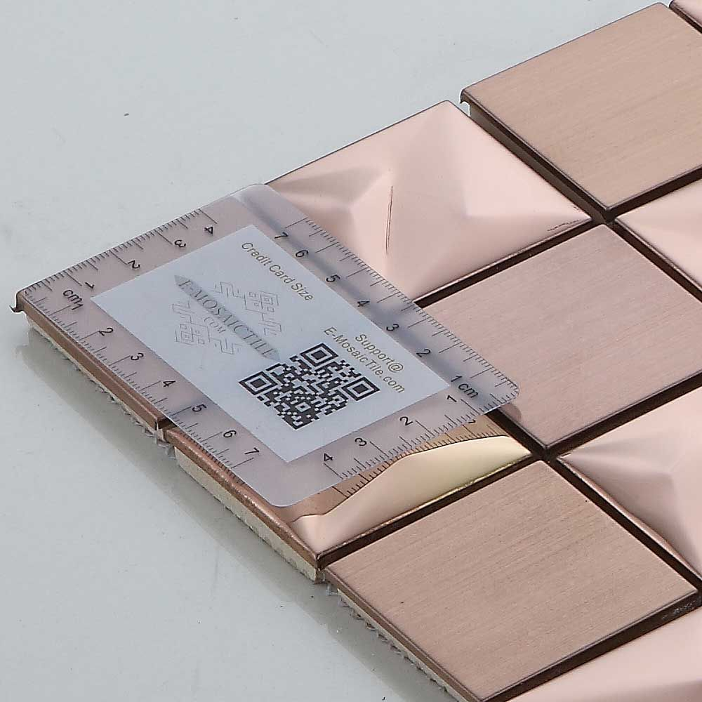 - Feature Accent Wall Backsplash 3D Rose Gold Square Stainless Steel