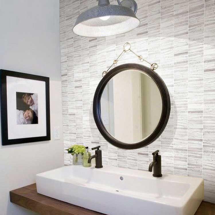 Grey Rectangle Marble Stone Bath Wall And Floor Mosaic Tile Kitchen  Backsplash