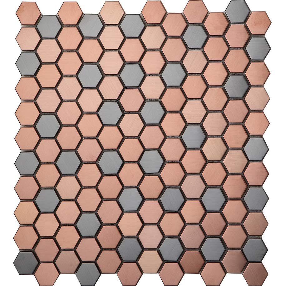 - Rose Gold Mix Black Hexagon Stainless Steel Mosaic Tile Bathroom