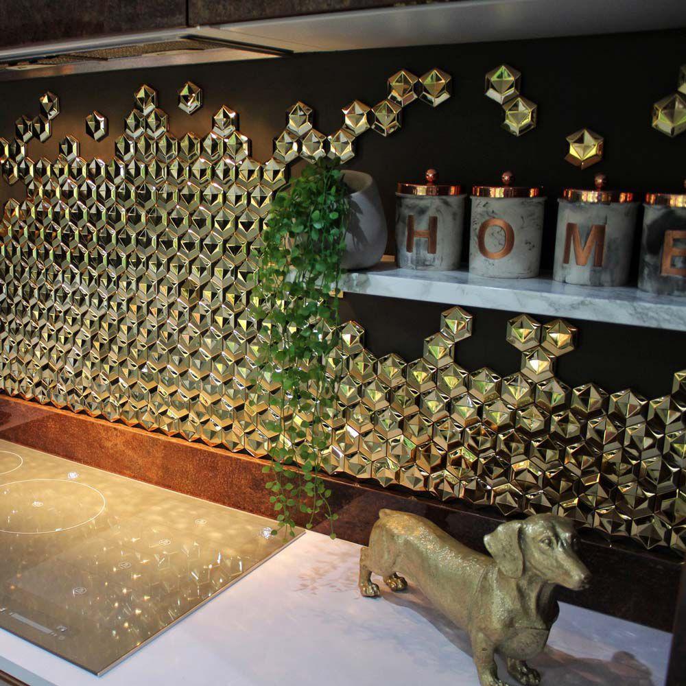 - Stunning Backsplash Accent Feature Wall 3D Golden Hexagon