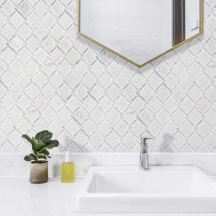 Specialty Carrara Jazz White Marble Stone Bath Wall And Floor Mosaic Tile Kitchen Backsplash