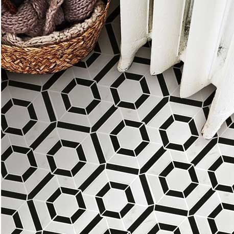 Hexagon Black and White Marble Stone Mosaic Tile Bath Wall and Floor  Kitchen Backsplash