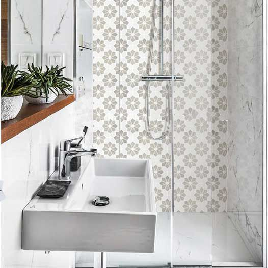 Flower Pattern White and Grey Marble Stone Bath Wall and Floor Mosaic Tile  Kitchen Backsplash