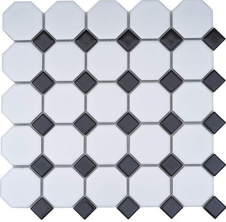 Ceramic Mosaic Tile Octagon White