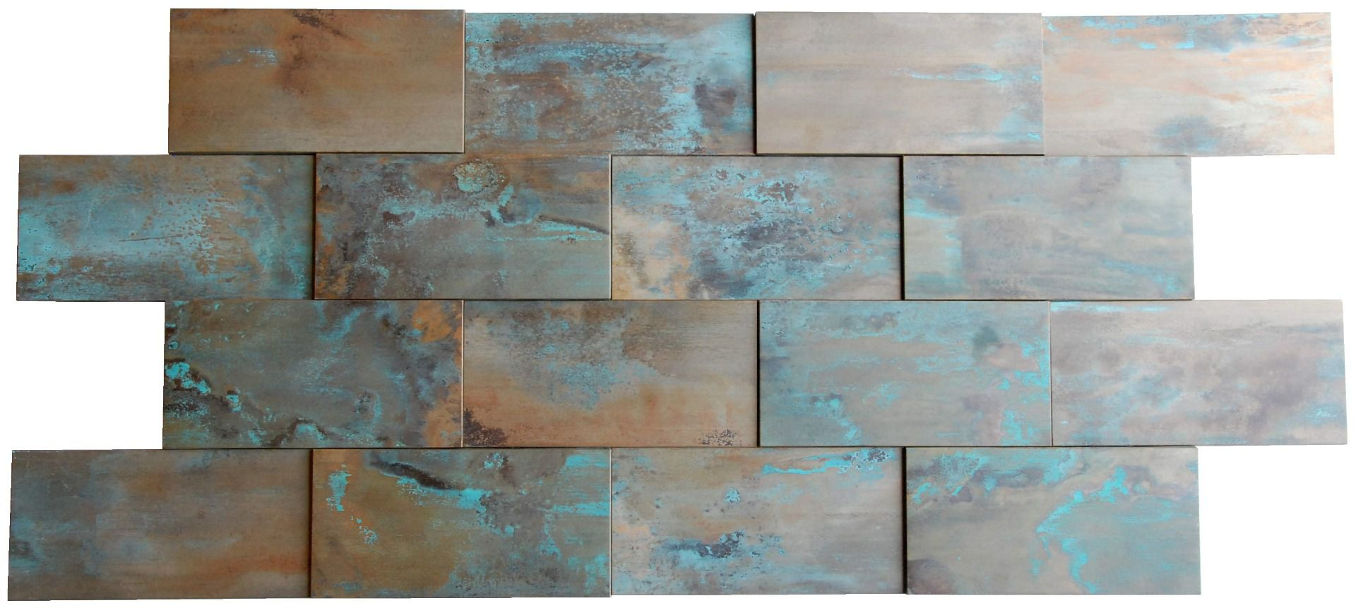 - 3D Patina Copper Brick Tile Fireplace Stair Riser Feature Wall Decor