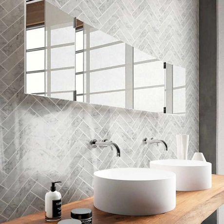 Herringbone Marble Mosaic Tile Bigger Size Carrara White Polished Or Matt
