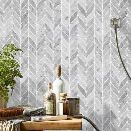 Leaf Shape Marble Mosaic Tile Carrara White Waterjet