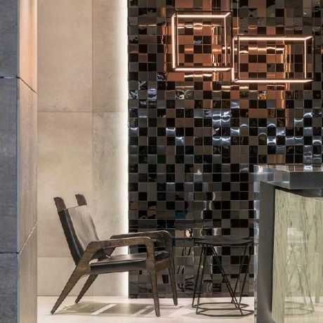 Stunning Feature Accent Wall 3D Stainless Steel Mosaic Tile Shinny Black
