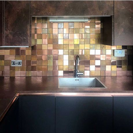 Stunning Feature Accent Wall 3D Mosaic Tile Copper Mix Stainless Steel Shinny Rose Gold