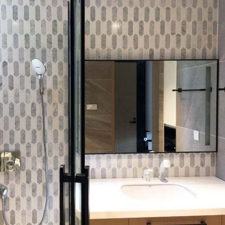 Picket Fence Carrara White Marble Stone Mosaic Tile Bath Wall and Floor Kitchen Backsplash