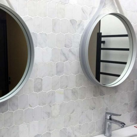 Specialty White Marble Stone Bath Wall and Floor Mosaic Tile Kitchen Backsplash