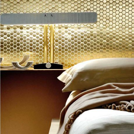 Golden Feature Wall Bathroom Backsplash Hexagon Mosaic Tile