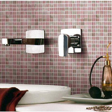 Pink Glass Mosaic Tile Square