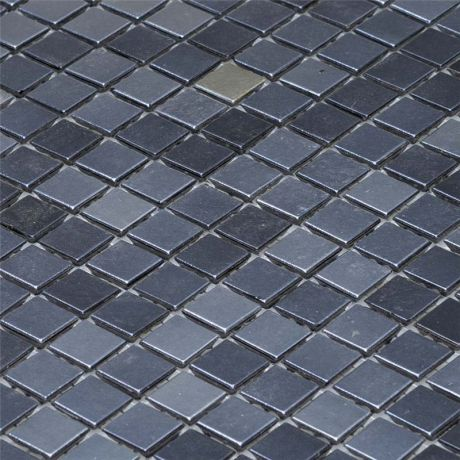 Glass Mosaic Tile Square Iridescent Black 15x15mm