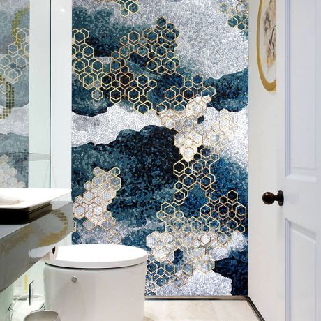 Modern Abstraction Glass Mosaic Art Golden Hexagon Patterns Feature Wall Blue Background 0.1Sq.M(1.07Sq.Ft)