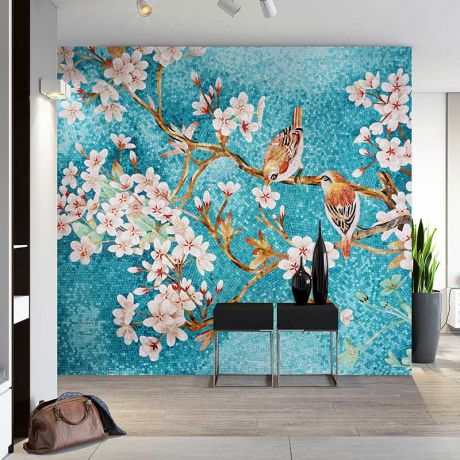 Birds in Spring MING XI PRIMULA  Glass Mosaic Art Feature Wall Blue Background 0.1Sq.M(1.07Sq.Ft)