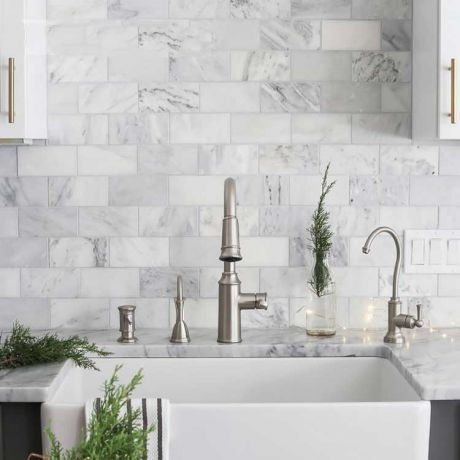 Carrara White Marble Stone Mosaic Brick Subway Tile Bath Wall and Floor Kitchen Backsplash