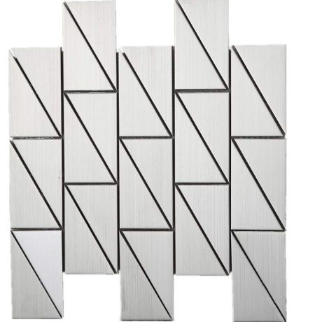 3D Stainless Steel Mosaic Tile Silver long Triangle