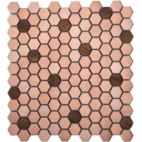 Rose Golden and Copper Stainless Steel Mosaic Tile Hexagon