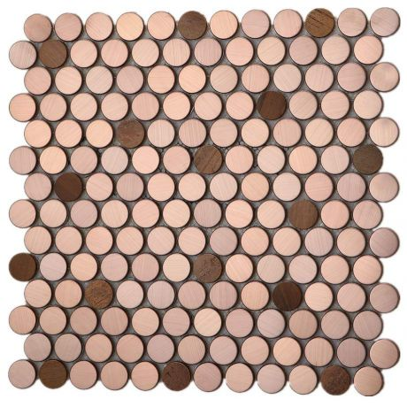Penny Round Rose Gold and Copper Mosaic Tile Feature Wall Backsplash