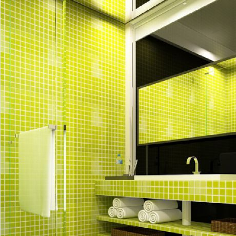 Apple Green Crystal Glass Mosaic Tile Square