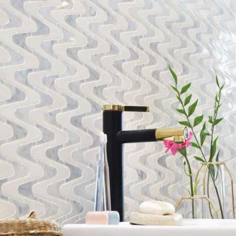 Sea Wave Kitchen Backsplash Bath Wall and Floor Marble Mosaic Tile Carrara White