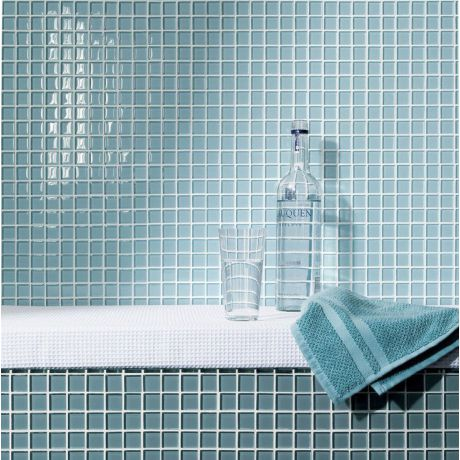 Lake BLue Crystal Glass Mosaic Tile Square
