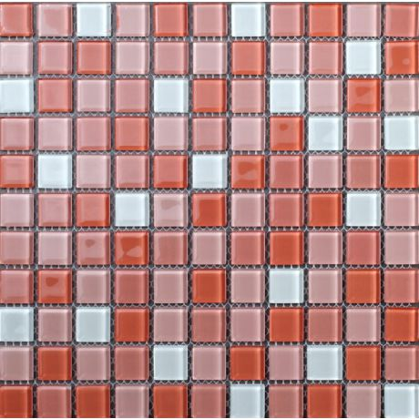 Crystal Glass Mosaic Tile Square  Pink