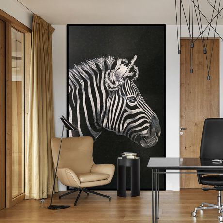 Zebra Glass Mosaic Art Feature Wall Black Background 0.1Sq.M(1.07Sq.Ft)