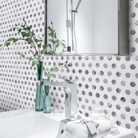 Hexagon White and Grey Marble Stone Bath Wall and Floor Mosaic Tile Kitchen Backsplash