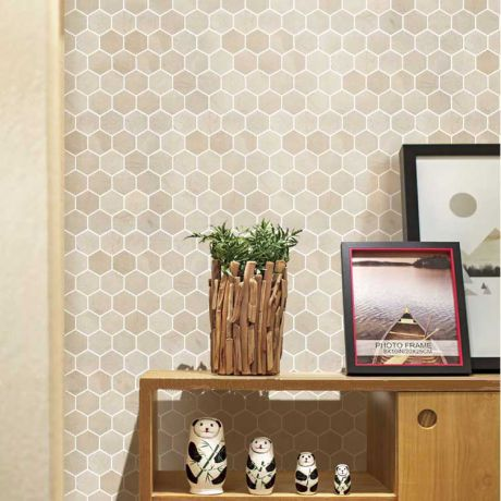 Hexagon Beige Marble Stone Mosaic Tile Bath Wall and Floor Kitchen Backsplash