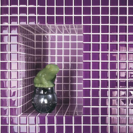 Simple Purple Crystal Glass Mosaic Tile Square