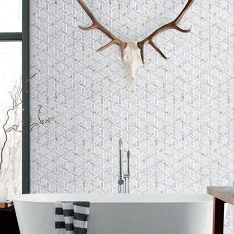 Windmill Shape Carrara White Marble Stone Mosaic Tile Bath Wall and Floor Kitchen Backsplash Hexagon