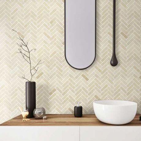 Bath Wall and Floor Mosaic Tile Kitchen Backsplash  Herringbone Marble Stone Beige