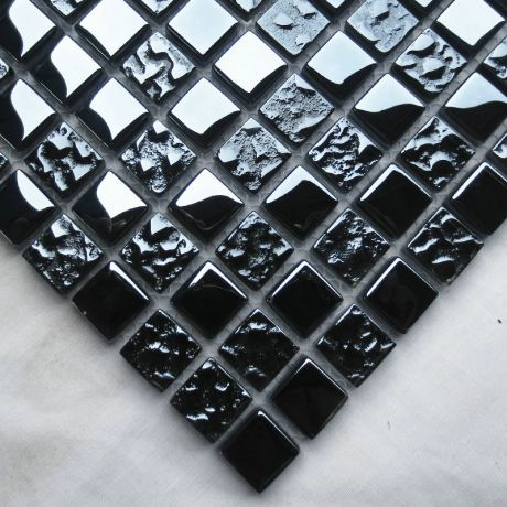 Black 1.5x1.5 Glass Tile