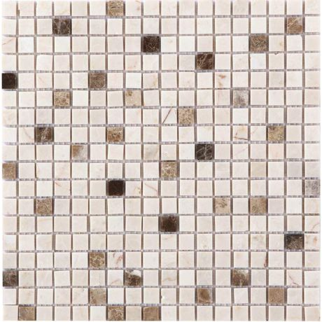 Natural Stone Mosaic Tile Square Beige Brown Bronze Honed Marble 15x15mm