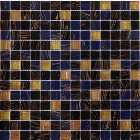 Glass Mosaic Tile Square Golden Brown and Black Metallic Highlight 20x20mm