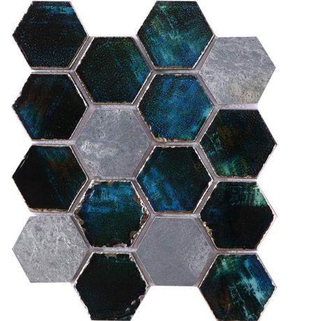 Blue Hexagon Crystal Glass Mix Dark Gray Honed Travertine Mosaic Tile