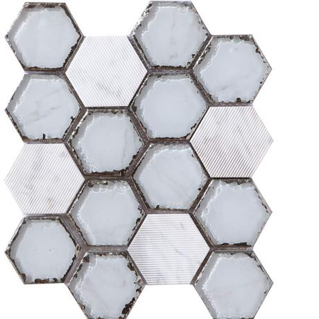 Hexagon Mosaic Tile Hand Painted Marbleized White Crystal Glass Special Tumbled Mix White Carrara Marble 73mm