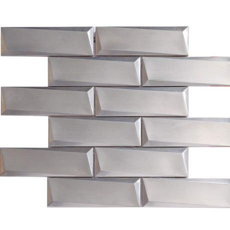 3D Stainless Steel Mosaic Tile Rectangle Asymmetric Beveled 48x148mm