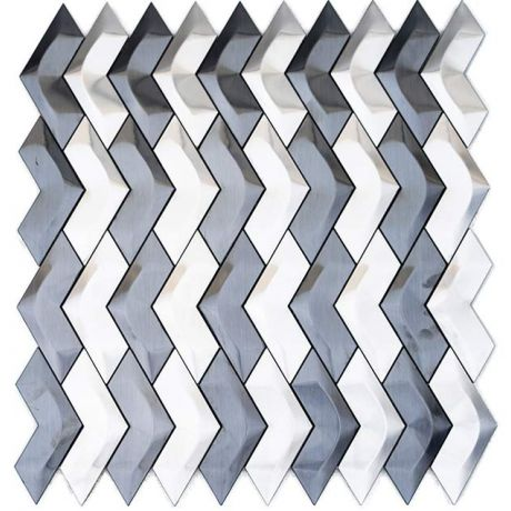 3D Stainless Steel Mosaic Tile Herringbone Black and Sliver
