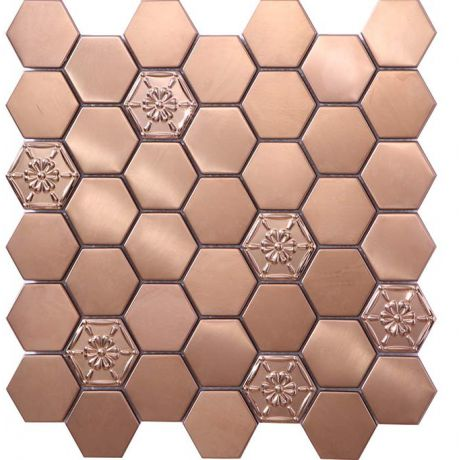 3D Stainless Steel Mosaic Tile Hexagon Rose Gold Flower Pattern 48x48mm