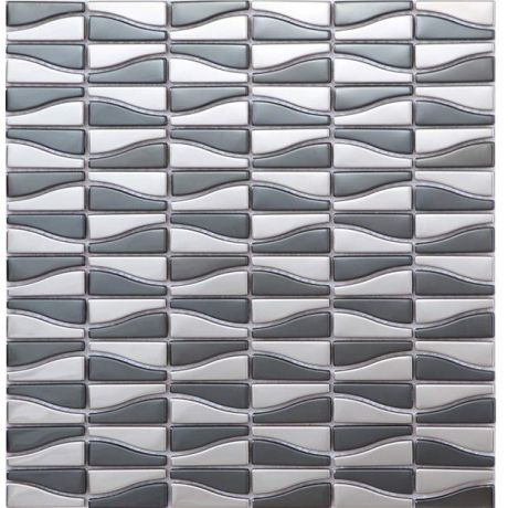 Stainless Steel Mosaic Tile Rectangle Black and Silver Glossy
