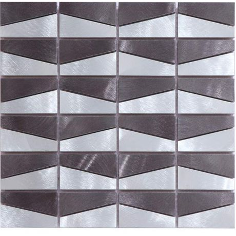 Brushed Stainless Steel Mosaic Tile Rectangle Black and Silver